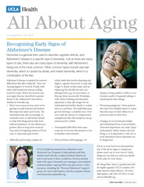 Recognizing Early Signs of Alzheimer's Disease