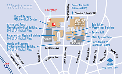 Click to enlarge Westwood campus map. Ronald Reagan and vacinity