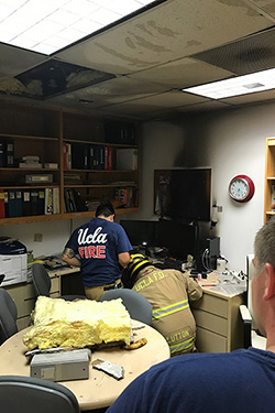 UCLA firefighters at the scene