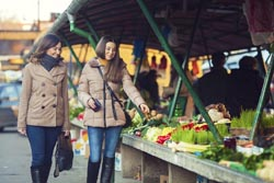 shopping at farmers market in winter image