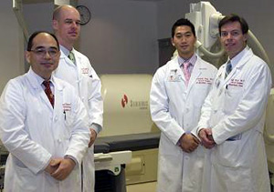 From left to right: Dr.Fujimura, Dr. Bradfield, Dr.Tung and Dr.Buch. -  Stereotaxis Magnetic Navigation System at UCLA Cardiac Arrhythmia Center, Los Angeles, CA