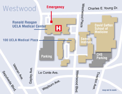 Map to the UCLA Westwood Women's Medical Center