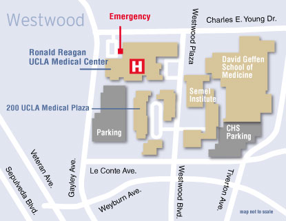 Map to the UCLA Medical Plaza in Westwood
