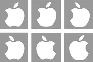 Adam Blake, Meenely Nazarian, Alan Castel/UCLA Psychology<br>Examples of the incorrect logos shown in the study. The actual Apple logo, which is not pictured here, resembles the bottom middle panel, but with the leaf facing the other way.
