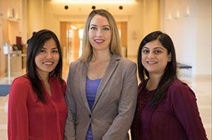 From left, Dr. Marjorie-Anne Guerra, Dr. Claire Baldauf and Dr. Manal Habib; Reed Hutchinson/UCLA