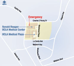 Click to enlarge Ronald Reagan UCLA Medical Center area map - Westwood, Ca