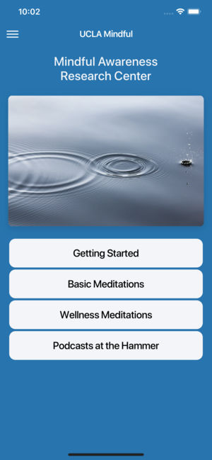 Screenshot of the UCLA Mindful app from the Mindful Awareness Research Center.