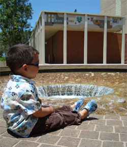 Timmy at the UCLA Inverted Fountain